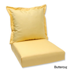 Pillow Perfect - Pillow Perfect Deep Seating Cushion and Back Pillow with Sunbrella Fabric - This deep seating cushion and back pillow set is covered in 100-percent solution dyed acrylic Sunbrella® fabric,which provides the perfect balance of worry-free performance and fashion.