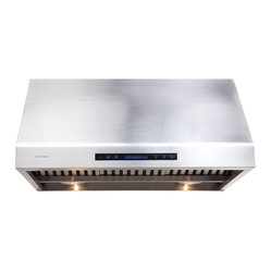 "Atlas International Inc - Range Hood 36"" - Cavaliere, Under Cabinet - Cavaliere Stainless Steel 360W Under Cabinet Range Hood with 4 Speeds, Timer, LCD Keypad, Stainless Steel Baffle Filters, Heat Lamps & Halogen Lights."