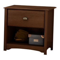 South Shore - South Shore Nathan Kids Contemporary Wood Nightstand in Sumptuous Cherry Finish - South Shore - Nightstands - 3356062 - The Nathan Nightstand is crafted from engineered woodproducts in a Sumptuous Cherry finish. This kid's nightstand features sculptedlines a metal handle cut-out feet and one storage drawer to keep all your kid'sbedtime necessities within arm's reach. The Nathan Nightstand is a perfectaddition along side your kid's bed.The Nathan Collection by South Shore Furniture offers traditional styling with a touch of contemporary design elements. This collection of children's furniture features metal handles a decorative kickplate and extensive closed and open storage spaces for toys clothing and other items. With a rich Sumptuous Cherry finish the South Shore Furniture Nathan Collection is sure to garner praise from all who see it.Features:
