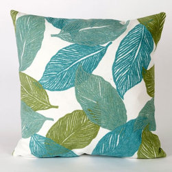Mystic Leaf Aqua Outdoor Pillow - Mystic Leaf Aqua outdoor pillow design.