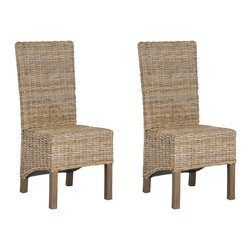 Safavieh - Pembrooke Side Chair - Natural Unfinished - The stately Pembrooke side chair recasts natural rattan for contemporary homes. Legs, crafted from renewable mango wood with antique grey finish are paired with unfinished rattan for an updated British Colonial style. The visual play of shorter rear legs and slanted seat add an unexpected dimensionality.