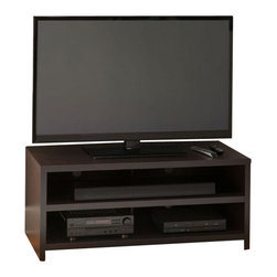 Bush - Bush Kemp Flat Panel TV Stand in Dark Macchiata - Bush - TV Stands - MY4286003 - With a classic modern open design simple lines and rich dark Macchiata finish the Bush Kemp TV Stand emphasizes the state-of-the-art sleek picture of your flat panel television. With open shelves the Kemp offers a clear view of your television on the stand with plenty of room for your soundbar and other components. Looks and works great as a stand for your television or as a console for components pictures or knickknacks with a wall-mounted TV. Wire management openings and full back panel make it easy to organize and hide cables.