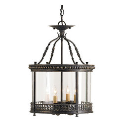 """Currey & Company - Currey & Company Wrought Iron and Glass Ceiling Lantern in French Black - An attractively detailed wrought iron design forms the pinnacle of this small scale ceiling lantern while decorative metal bands surround the top and bottom of the vintage glass panels. The chandelier is made with wrought iron and glass and features a French black finish. It measures 14"""" in diameter X 20""""H and takes four 60 watt max bulbs (BULBS ARE NOT INCLUDED)."""