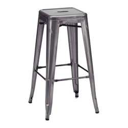 Design Lab MN - Amalfi Stackable Dark Gunmetal Steel Barstool Set of 4 - Add a modern touch to your restaurant, bar, or corporate building with this stunning Tolix bar stool. Featuring a sleek, dark, gunmetal finish and a strong, rolled steel frame, this industrial metal stool can withstand even your highest traffic areas.