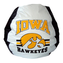Bean Bag Boys - Bean Bag Boys Vinyl Bean Bag Chair in U of Iowa Hawkeyes Bean Bag - Pear-shaped design offers back support or rounded appearance as needed. Complies with voluntary CPSC guidelines for zipper closures. 100% recyclable product. Product is refillable proudly made in the U.S.A double-stitched with clear nylon for added strength.