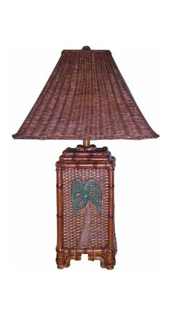 Papila Design - Tropical Wicker Dark Tea Table Lamp with Wicker Shade - -Looks and feels like wicker  -Material: Resin  -Shade Shape: Square Flat  -Shade Material: Wicker, Lining Papila Design - RT813-DT
