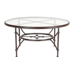 None - Origin 48-Inch Round Espresso Tempered Glass-Top Table - This 48-Inch round table brings long-lasting convenience to your decor with a sturdy yet light aluminum frame finished in beautiful espresso. A tempered-glass top provides style and strength, making this a unique yet practical piece.