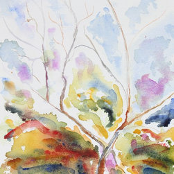"Lost Art Salon - Original McGaffey Watercolor ""Alder Trees at St. Edmunds Retreat, Pacifica CA"" - Entitled ""Alder Trees at St. Edmunds Retreat, Pacifica, CA"", this late 20th-early 21st century watercolor on paper still life is by Bay Area artist Alysanne McGaffey (1931- ). McGaffey was part of the Bay Area Figurative Movement of the late 1950s and early 60s while studying at the San Francisco Art Institute. She has had numerous solo and group exhibitions throughout her career and still holds offices in several art organizations including the Coastal Arts League and the Peninsula Chapter of Women's Caucus for Art. She continues to paint watercolors of the Pacific seashore in her Pacifica studio. Signed by the artist in the lower right. Shipped in a standard size archival mat."