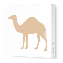 "Avalisa - Silhouette - Camel Stretched Wall Art, 12"" x 12"", Light Brown - If your room is suffering from a bit of a dry spell, create an oasis with this wall hanging. A camel silhouette is printed in your choice of colors on white fabric for a graphic look. Buy a few and start a caravan, or group one with other animal silhouettes."