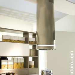"""""""Jupiter Light"""" LED-enhanced Designer Range Hood - Slim & sleek stainless-steel tubular range hood, with a subtle LED light ring for an elegant visual impact. Equipped with a powerful 940-CFM blower, electronic controls, dishwasher-safe filter, and more. Visit www.FuturoFuturo.com for complete specifications, current pricing & stock status, multiple photos."""