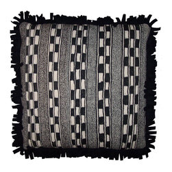 Pair of Pillows ~ Moroccan Hand Woven Wool Pillows - This Pair of Ethnic Pillows are Made from Hand Spun, Hand Woven Natural White and Natural Black Sheep's Wool.  An Outstanding Geometric Weave Moroccan Textile, Well Designed, and Tightly Woven. Down and Feather Inserts.