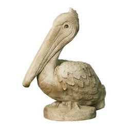 OrlandiStatuary - Animals Pelican Statue - Features: -Material: Fiber stone.-Mixture of stone cast directly into the surface, reinforced with a fiberglass backing.-Lightweight, extremely durable, less fragile than concrete.-Handmade and outdoor safe.-Carefully stained to give the appearance of age.-Made in USA.-Animals collection.-Seams from manufacturing may be minimally visible..-Collection: Animals Pelican.-Distressed: Yes.-Country of Manufacture: United States.Dimensions: -Overall dimensions: 20.5'' H x 17'' W x 9'' D.-Overall Product Weight: 9 lbs.