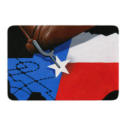 "KESS InHouse - Thomas Fuchs ""Lone Star"" Red Blue Memory Foam Bath Mat (17"" x 24"") - These super absorbent bath mats will add comfort and style to your bathroom. These memory foam mats will feel like you are in a spa every time you step out of the shower. Available in two sizes, 17"" x 24"" and 24"" x 36"", with a .5"" thickness and non skid backing, these will fit every style of bathroom. Add comfort like never before in front of your vanity, sink, bathtub, shower or even laundry room. Machine wash cold, gentle cycle, tumble dry low or lay flat to dry. Printed on single side."
