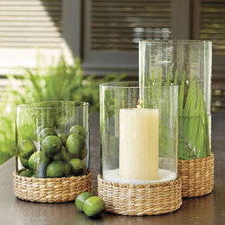 Ballard Designs - Seagrass Hurricane - Fill it with colorful stones, seasonal balls or submerged blooms. Hand wash. With its grand scale and natural texture, our Seagrass Hurricane makes an instant statement, inside or out. Add your own candles or simple stems to create a memorable centerpiece for any occasion. It's especially striking used in multiples. Seagrass Hurricane features: . .