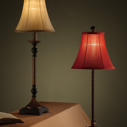 """Table Lamp - Elegant Table Lamp With Rustic Shade And Braided Twist With A Monument Styled Base,30""""H,Red and Tan color available"""