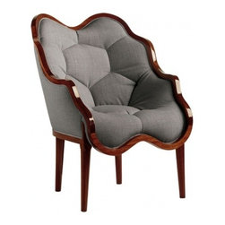 ecofirstart - ANTONIA ARMCHAIR - Sumptuous curves and luxurious cushioning make this striking chair a popular go-to resting place in your living room. The dark mahogany frame encompasses the seat, arms and back, while the rich grey upholstery covers a quilted honeycomb of comfort for whoever is lucky enough to sit in it.