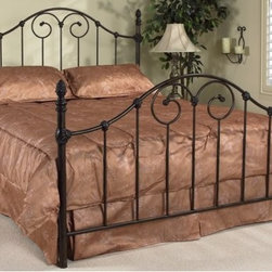 Vanessa Queen Antique Brown Wrought Iron Bed Frame - Vanessa Antique Brown Wrought Iron Queen Bed Frame. Steel side rails also included. Some assembly required. This bed frame requires the use of a box spring. Dimensions: 62inches width.