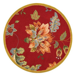 Safavieh - Country & Floral Chelsea Round 4' Round Red Area Rug - The Chelsea area rug Collection offers an affordable assortment of Country & Floral stylings. Chelsea features a blend of natural Red color. Hand Hooked of Wool the Chelsea Collection is an intriguing compliment to any decor.
