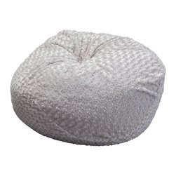 Great Deal Furniture - Ashley 3-Ft Grey Shaggy Fabric Bean Bag Chair - Lounge in style with the Ashley 3-foot grey fabric bean bag. This unique and plush fabric makes this an inviting piece for any adult or child. Its microfiber shaggy fabric is soft to the touch and the neutral color will complement almost any decor. Made in the United States with an eco-friendly foam filler, this bean bag offers a luxurious and comfortable option to your in home lounging experience.