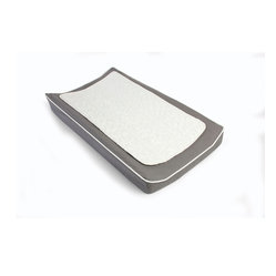 Oilo - Changing Pad Cover & Topper, Pewter and White - A clean and covered changing pad is an everyday baby essential. You can't go wrong with one that also includes a removable quilted pad. This is perfect for easy cleaning without having to remove the entire cover — music to any mother's ears.