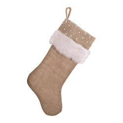 Saro - Faux Fur and Beaded Burlap Stocking, Natural SET/2 - Faux Fur and Beaded Burlap Stocking, Natural SET/2