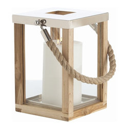 Arteriors Home - Arteriors Home Tate Lantern, Small - Arteriors Home 6600 - Arteriors Home 6600 - The nautical styled Tate lantern is of natural wood and clear glass construction with polished nickel trim and a jute rope handle. Display on a table or hang from a secure hook. Holds a pillar candle or fill with colorful stones or decorative objects. Available in large and small sizes. Candle not included.
