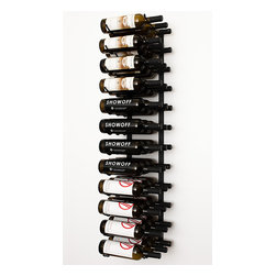 "VintageView® 36 Bottle Wall Mounted Wine Rack in Satin Black - Create a wall wine rack system anywhere. These metal wine racks are 12"" taller than the WS3 Series and equally decorative and versatile. Showcase your wine, not the racks. We are proud to be the best dealer of VintageView products in America, and we back our position with unsurpassed customer service."