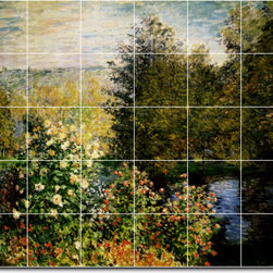 Picture-Tiles, LLC - Rose Beds At Montgeron Tile Mural By Claude Monet - * MURAL SIZE: 40x48 inch tile mural using (30) 8x8 ceramic tiles-satin finish.