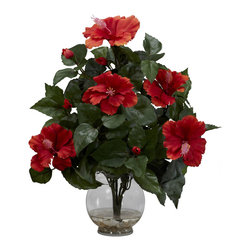 """Nearly Natural - Hibiscus w/Fluted Vase Silk Flower Arrangement - A literal explosion of delight, this Hibiscus will cheer up even the sourest of moods.  A big, fluffy bed of lush greenery provides the ideal base for the numerous red blooms (with just a hint of pink in their centers as well). It's a stately piece that adds a touch of class to any decor - home or office. Also makes a great gift. Complete with a fluted bowl and """"liquid illusion"""" faux water, it will stay looking fresh for decades!"""