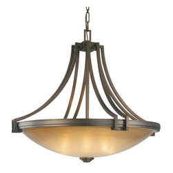 Metropolitan Lighting - Underscore Bowl Pendant by Metropolitan Lighting - Underscore transitional decor with warm light and clean lines. The Metropolitan Lighting Underscore Bowl Pendant features a strong barred frame with a deep Cimarron Bronze finish that brings out the rich tones of the Brushed Caramel Silk glass shade. Part of the Walt Disney Signature-Underscore Collection, a contemporary take on Art Deco design inspired by musical scores from classic Disney films.Metropolitan Lighting, part of Minka Group, manufactures old world inspired, intricately detailed lighting in transitional and traditional styles as well as modern and contemporary designs.The Metropolitan Lighting Underscore Bowl Pendant is available with the following:Details:Bowl-shaped, Brushed Caramel Silk glass shadeCimarron Bronze finishCeiling canopy4' chainUL ListedWalt Disney SignatureOptions:Size: Large, Medium, or Small.Lighting:Large option utilizes eight 100 Watt 120 Volt Medium Base Incandescent lamps (not included).Medium option utilizes five 100 Watt 120 Volt Medium Base Incandescent lamps (not included).Small option utilizes four 100 Watt 120 Volt Medium Base Incandescent lamps (not included).Shipping:This item usually ships in 48 hours.