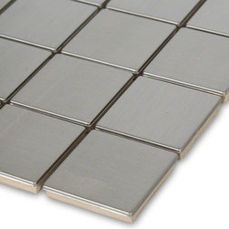 Sample - Metal Silver Stainless Steel 2x2 Square Tiles Sample - Sample-Metal Silver Stainless Steel 2x2 Square Tile Sample   Samples are intended for color comparison purposes, not installation purposes.    -Glass Tiles -