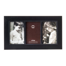 """Origin Crafts - Adler black 3 picture collage frame (4x6) - Adler Black 3 Picture Collage Frame (4x6) Natural ash wood, heavily grained finish, black inner border accent, wall hangers. 3-opening (holds 4x6"""" photos) By Prinz - Prinz is a leading supplier of picture frames. At Prinz they are committed to offering unsurpassed design, quality, and value. Ships within five business days."""