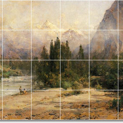 Picture-Tiles, LLC - Bow River Gap At Banff On Canadian Pacific Railroad Tile Mural By Thom - * MURAL SIZE: 48x72 inch tile mural using (24) 12x12 ceramic tiles-satin finish.