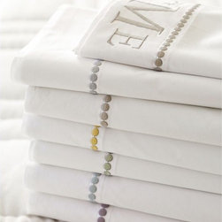 Pearl Embroidered Sheet Set - For a more traditional take on the dot, try these Pearl Embroidered sheets.