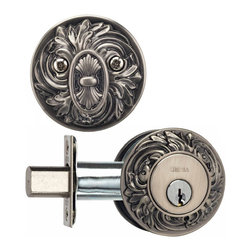 Victorian Style Deadbolt - The Single Cylinder Ornate Deadbolt is over-the-top but that is what makes it so grand. In a world where everything is  plain, why not add a little glamor to your home? A single cylinder deadbolt, the latch is thrown and retracted by a thumb turn on the interior and by a key from the exterior. Shown and priced in Venetian Nickel finish.