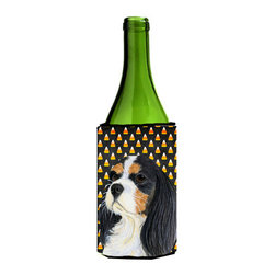 Caroline's Treasures - Cavalier Spaniel Tricolor Halloween Portrait Wine Bottle Koozie Hugger - Cavalier Spaniel Tricolor Candy Corn Halloween Portrait Wine Bottle Koozie Hugger Fits 750 ml. wine or other beverage bottles. Fits 24 oz. cans or pint bottles. Great collapsible koozie for large cans of beer, Energy Drinks or large Iced Tea beverages. Great to keep track of your beverage and add a bit of flair to a gathering. Wash the hugger in your washing machine. Design will not come off.