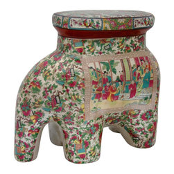 "Oriental Furniture - 14"" Rose Medallion Porcelain Elephant Stool - Chinese porcelain stool shaped as an elephant, a symbol of majesty and royalty in Far East cultures. A colorful, hand applied floral and Oriental themed pattern surrounds a medallion bordered image of an Asian courtyard scene, appliqued and fired onto the porcelain in a kiln. Rose Medallion style panel art wraps around the top seat. The porcelain is finished in a medium gloss crackle glaze. Functions great as a small stool. Display on a bookshelf, end table, or in a curio cabinet for a colorful and authentic Asian accent."