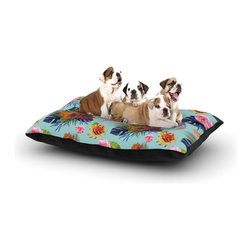 """Kess InHouse - Nika Martinez """"Tropical Floral"""" Blue Flowers Fleece Dog Bed (30"""" x 40"""") - Pets deserve to be as comfortable as their humans! These dog beds not only give your pet the utmost comfort with their fleece cozy top but they match your house and decor! Kess Inhouse gives your pet some style by adding vivaciously artistic work onto their favorite place to lay, their bed! What's the best part? These are totally machine washable, just unzip the cover and throw it in the washing machine!"""