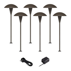 """John Timberland - Traditional Mushroom Bronze 8-Piece Outdoor LED Landscape Lighting Set - Give your front or backyard stylish accent lighting with this complete landscape lighting set. This kit includes six low-voltage LED path lights with a mushroom shaped shade a bronze finish and aluminum construction. A 45-watt low voltage transformer is included which features a built-in photocell for dusk to dawn operation. A black landscape wire completes the kit so you can connect your lights bringing this set together for a spectacular look. Works with existing low voltage landscape lighting systems. From John Timberland®.  Bronze finish.  Complete landscape lighting kit.  6 LED path lights one 45-watt low voltage transformer cable.  Path lights include integrated 3 watt LED module.  Comparable to a 25 watt incandescent bulb.  45 watt transformer.  Full ON mode or three AUTO settings (4 6 and 8 hours).  Built-in photo-cell for dusk to dawn operation.  50 feet of cable.  Includes ground stakes.  Path lights are 18"""" high 7"""" wide."""