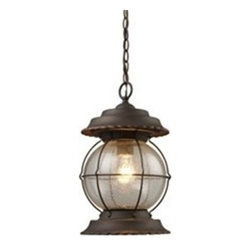Elk Lighting - Elk Lighting Manchester Traditional Outdoor Hanging Light X-BB-07180 - Make a statement by decorating with this Elk Lighting Manchester traditional outdoor hanging light. This bold, marine-inspired piece features a round, clear seeded glass shade that's encased in a wire frame in a burnt bronze finish with gold highlights. It's a wonderful fixture, especially for a home with a casual outdoor setting.