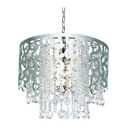 Polished Chrome And Crystal 5 Light Chandelier - Condition: New - in box