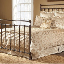 "FBG - Langley Metal Bed - The Langley Bed makes a statement. The 60"" headboard and 40"" footboard, made with 1 3/4"" tubing, demands attention. The design is straightforward, mostly straight rails, spindles and posts, all topped off by solid ball castings. The finish, Copper Penny, is a deep copper color with a layer of black antiquing over it. The Langley Bed has some heft and age in its look which makes it work with more rustic, distressed and antique furniture pieces. Features: -Copper Penny finish. -Constructed of metal with a 4 - step finish. -Solid ball castings."