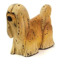 """Go Home Ltd - Shaggy by Go Home - This furry fellow is sure to please. On a bookcase or console meeting guests at your front entry, the Shaggy dog by Go Home is certainly man's best friend. Constructed of wood and hand painted by artisans. (GH) 15"""" long x 5"""" deep x 11"""" high"""