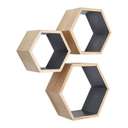Rustic Ash Wood Hexagon Shelves - Set of 3, Gray - These Nesting Hexagon Shelves are the ultimate stylish yet functional addition to your living space. They offer a surprising amount of space to display your favorite decorative items. Showcasing the mid-century modern style, they are the perfect design element to enhance any wall.