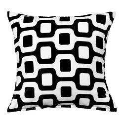 LaCozi - Bainz Black and White Throw Pillow - Anything but basic black and white, this graphic throw pillow will give your decor eye-popping punch. It's made of 100 percent cotton and quality crafted with double-stitched seams and reinforced stress points.