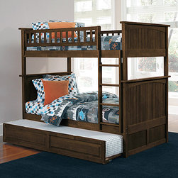 Nantucket Antique Walnut Bunk Bed - The Nantucket Antique Walnut Bunk Bed with Raised Panel Trundle Bed - Atlantic Furniture constructed of solid Eco-Friendly hardwood and protected by our high build five step finishes.