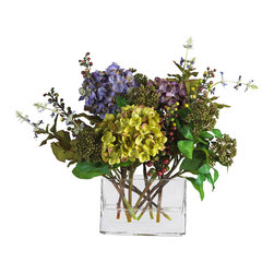 Nearly Natural - Mixed Hydrangea w/Rectangle Vase Silk Flower Arrangement - Bring back memories of earlier days with these lovely traditional hydrangeas. Featuring a mix of cream and pastel colors, this vibrant silk flower arrangement adds a nice touch to any home or office decor. Delicate pom-pom petals surrounded by a variety of green foliage are sure to capture your eye. A classy glass rectangular vase filled with artificial water provides all the care you need to keep this breathtaking beauty in superb shape.