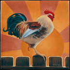 """Tile Art Gallery - Rise and Shine - Rooster Themed Ceramic Accent Tile, 4.25 in - This is a beautiful sublimation printed ceramic tile entitled """"Rise and Shine"""" by artist Chantal Candon. The printed tile displays a rooster with a colorful sunrise background. Pricing starts at just $14.95 for a 4.25 inch tile."""