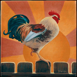"Tile Art Gallery - Rise and Shine - Rooster Themed Ceramic Accent Tile, 4.25 in - This is a beautiful sublimation printed ceramic tile entitled ""Rise and Shine"" by artist Chantal Candon. The printed tile displays a rooster with a colorful sunrise background. Pricing starts at just $14.95 for a 4.25 inch tile."