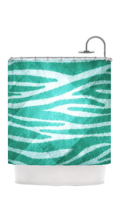 """Kess InHouse - Nick Atkinson """"Blue Zebra Print Texture"""" Shower Curtain - Finally waterproof artwork for the bathroom, otherwise known as our limited edition Kess InHouse shower curtain. This shower curtain is so artistic and inventive, you'd better get used to dropping the soap. We're so lucky to have so many wonderful artists that you'll probably want to order more than one and switch them every season. You're sure to impress your guests with your bathroom gallery in addition to your loveable shower singing."""